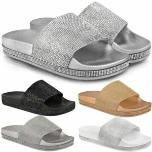 0867a9fb9 Image is loading Womens-Ladies-Flat-Slides-Sandals-Diamante-Sparkly-Sliders-