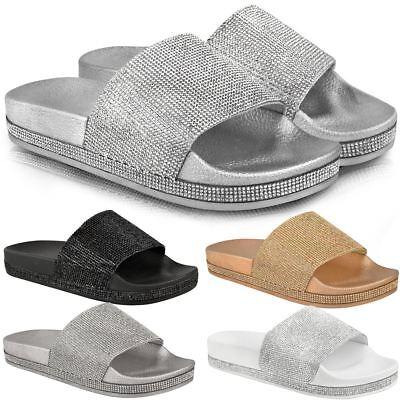 Womens Ladies Flat Slides Sandals
