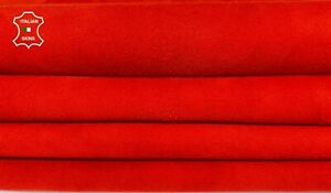 RED CORAL SUEDE genuine Goatskin Goat leather 2 skins total 9sqf 1.0mm #A8172