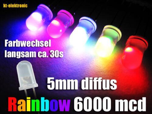 50 unidades LED 5mm mate//difuso colores cambiantes RGB auto arco iris lentamente