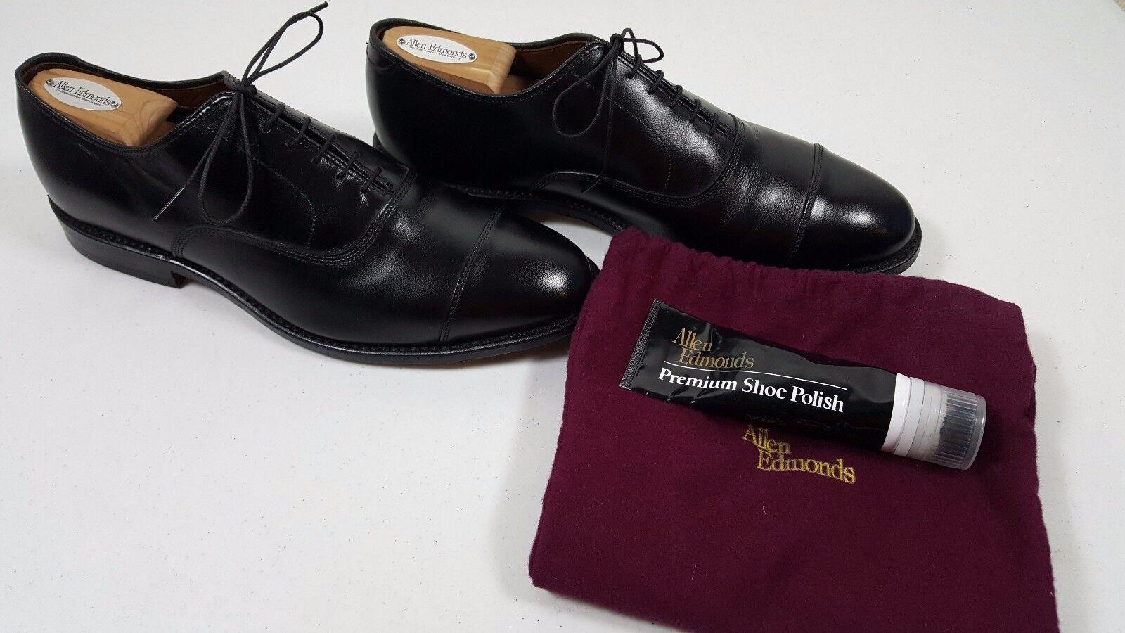 Ex&Co Allen Edmonds Park Avenue Cap Toe Oxford Noir Taille 9.5 D 395 9 1 2