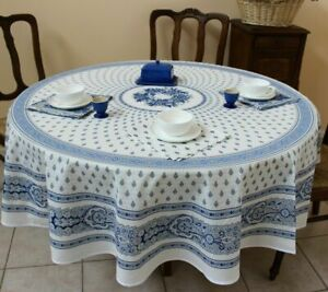 Blue 180cm Diameter Limited, White Tablecloth Round 1080p
