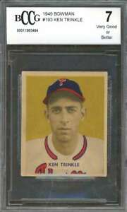 Ken-Trinkle-Rookie-Card-1949-Bowman-193-Phillies-Vg-Or-Better-BGS-BCCG-7
