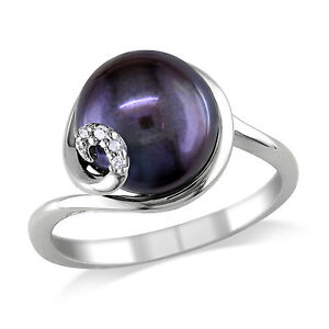 Sterling Silver Black Freshwater Pearl Ring 9-10 mm