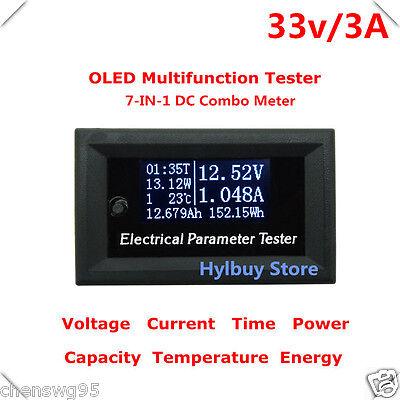 7in1 DC Meter Voltage Current Time Power Watt Capacity Panel 12v 24v Battery Car