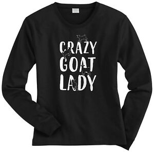 Crazy-Goat-Lady-Women-039-s-Long-Sleeve-T-Shirt-Greatest-Of-All-Time-Fun-Gift