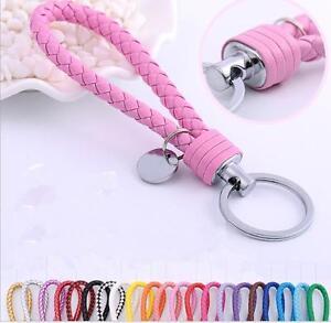 Braided-Faux-Leather-Strap-Keyring-Keychain-Car-Key-Chain-Ring-Key-Fob-hc