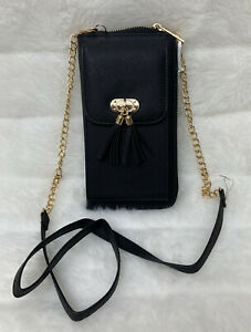 *New* Black Small Cross-body Cell Phone Wallet Case Shoulder Bag Pouch Handbag