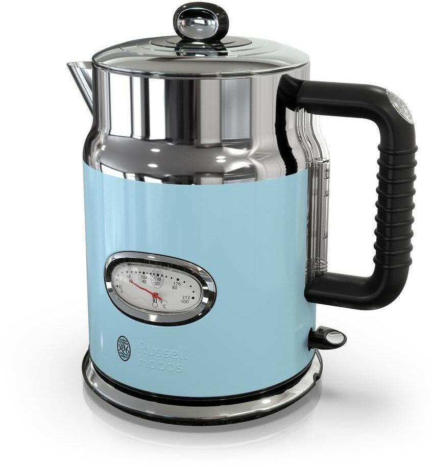 5-Cup Premium Electric Glass Kettle Water Temperature Gauge bleu Stainless Steel
