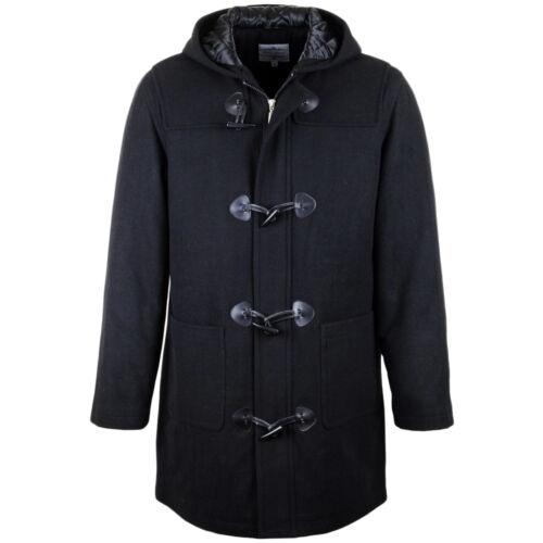 Montgomery in nera Toggle cappuccio foderato Zip Classico con inverno imbottito in Giacca Uomo lana Vintage caldo Gents FaTxA