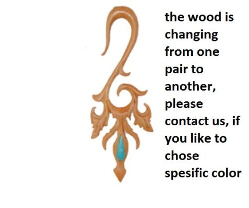 Ear Gauge Pair  Piercing Horn Wood Bone Hook Organic Stretcher Tribal Turquoise