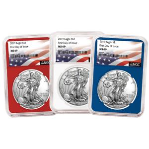 Set NGC MS69 FDI Flag Label Red White Blue 2019 $1 American Silver Eagle 3 pc