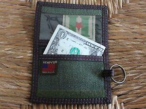 HEMP-Vegan-WALLET-bifold-USA-MADE-black-brown-HEMPY-039-S-Key-Ring-zipper-id-green