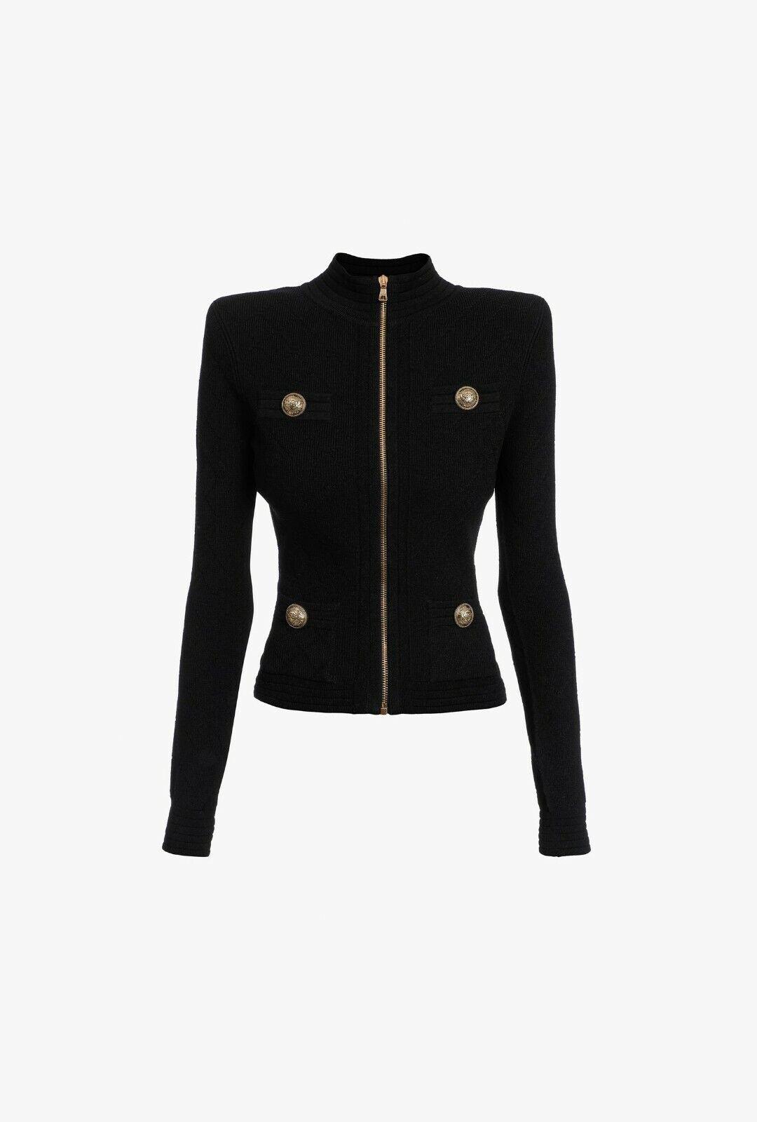BALMAIN 1750 Short Black Knit Jacket With Zip Fastening