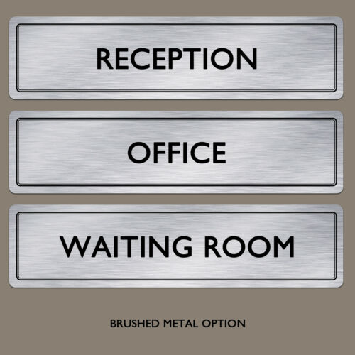 Door Plaque SignAny Text Any Words Brushed Aluminium Metal Office Door Sign