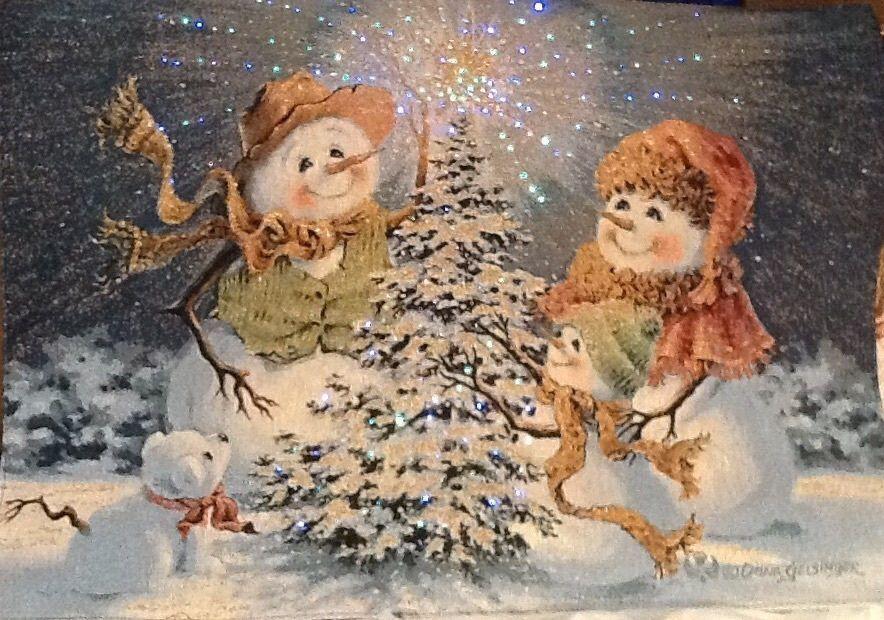 Christmas Snow Family Wall  Decor Dona Gelsinger Fiber Fiber Fiber Optic Lights.Tapestry 2784f2