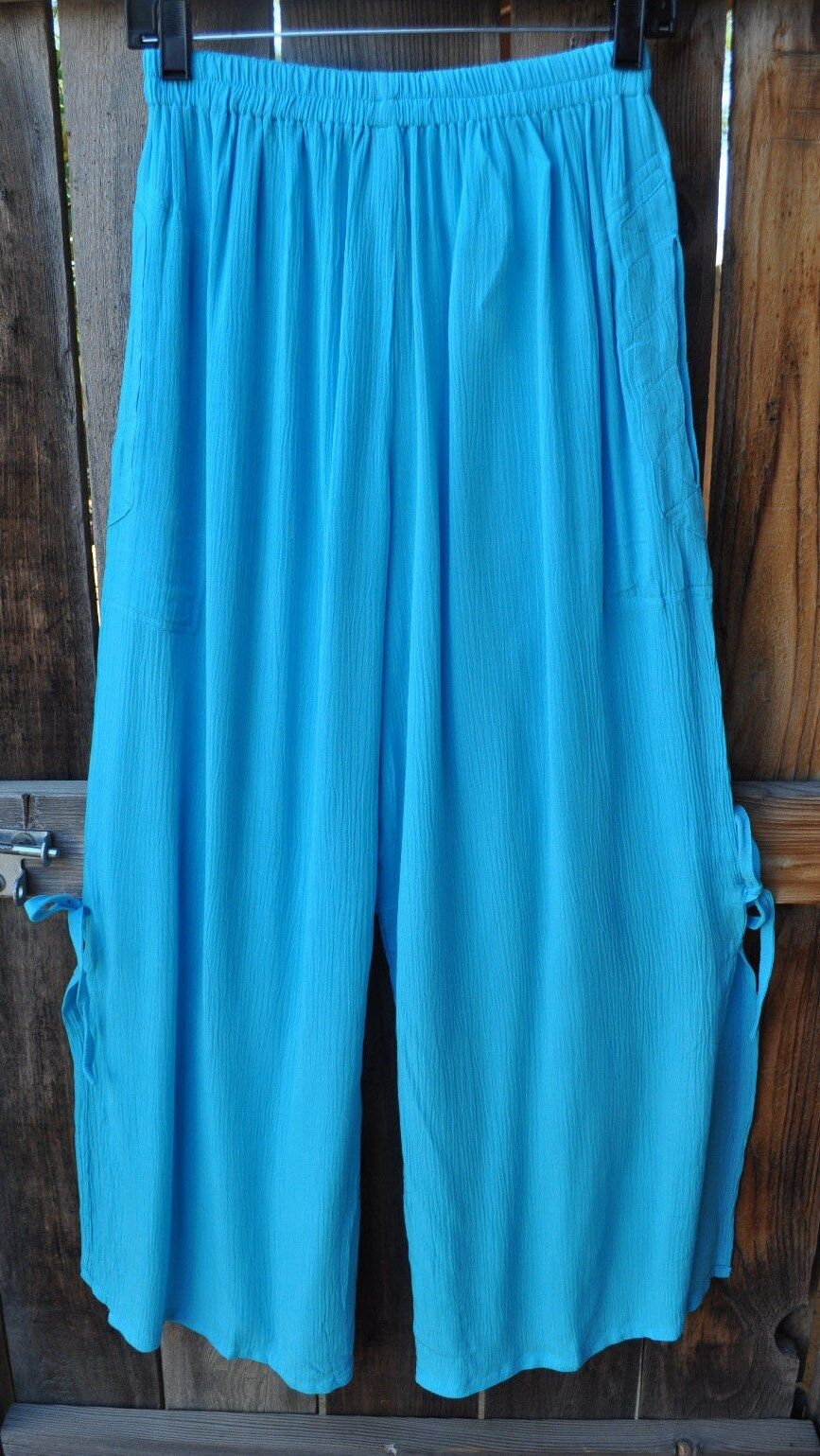 ART TO WEAR FLIRTY BL3 PANTS IN SOLID TURQUOISE BY MISSION CANYON,ONE SIZE