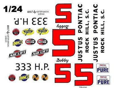 #5 Bobby Johns Justus Pontiac 1960 1/25th 1/24th Scale Waterslide Decals Professional Design Models & Kits Automotive