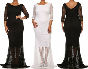 Plus Size Cut Out Fishnet Lace Overlay Bodycon Mermaid Maxi Dress | eBay