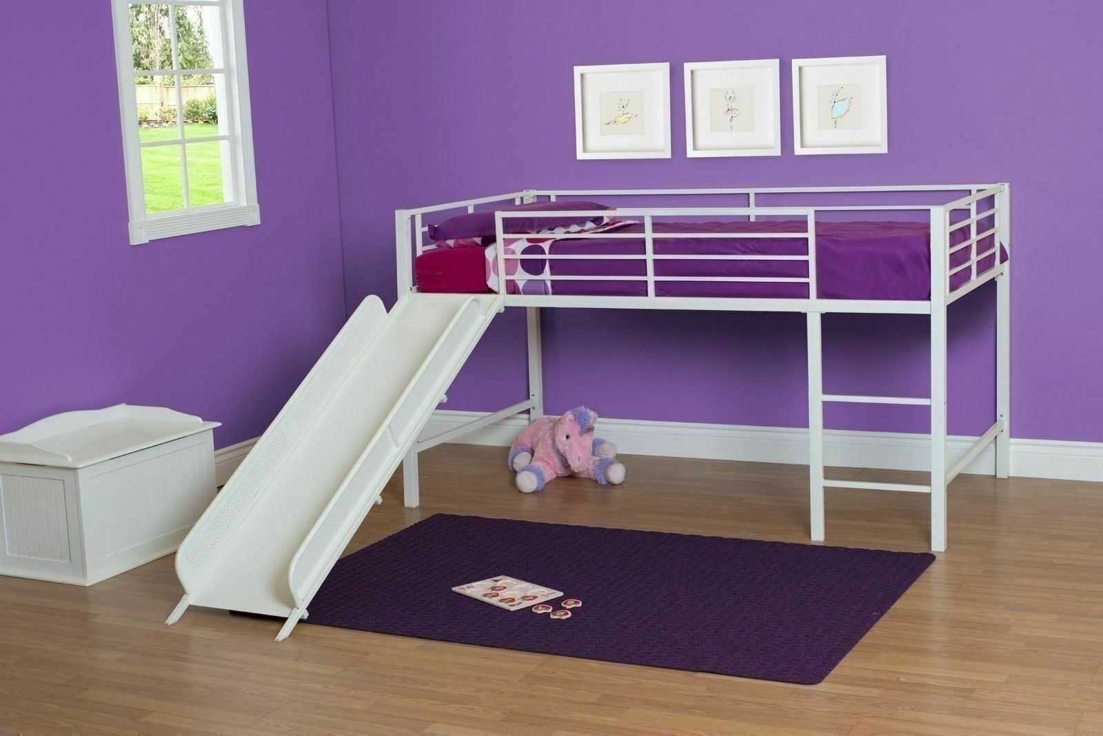 White Junior Loft Bed With Metal Slide Twin Size Bunk Kids Play Furniture Fun For Sale Online Ebay