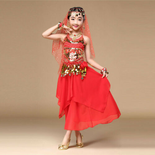 Girl Child kid Costume Belly Dance Dress India Dance Clothes Top+Skirt