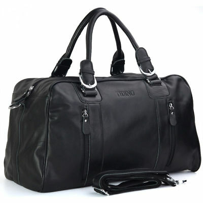 Men Real Cow Leather Travel Overnight Luggage Duffle Gym Shoulder Bag Suitcase
