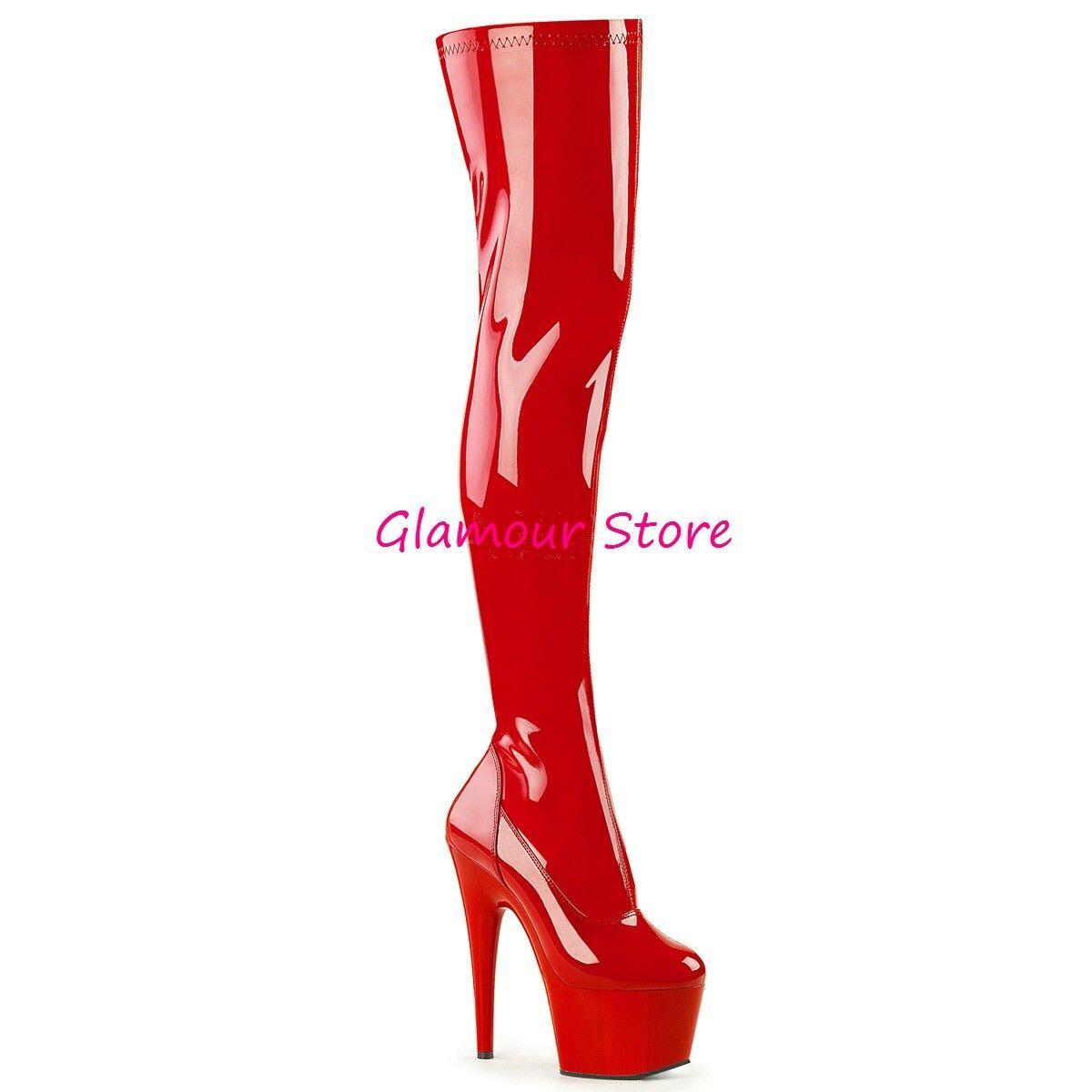 Sexy STIVALI COSCIA tacco 18 dal 35 a 44 ROSSO LUCIDO plateau ZIP scarpe GLAMOUR
