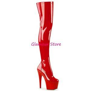 Tacco Coscia Stivali 44 Plateau Lucido 18 Glamour 35 Sexy A Rosso Dal Scarpe Zip waTB6Exq