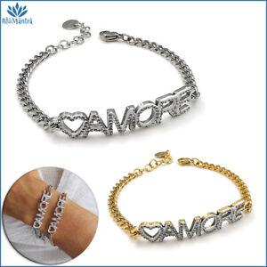 Bracciale da donna maglia con scritta amore in acciaio inox braccialetto zirconi