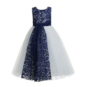 5ec54d0c5f6 Navy Blue Floral Lace Heart Cutout Flower Girl Dress Wedding Pageant ...