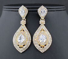 Drop Austrian Rhinestone Crystal CZ Chandelier Dangle Earrings Wed E3510G GOLD