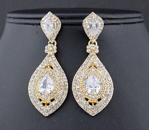 Drop-Austrian-Rhinestone-Crystal-CZ-Chandelier-Dangle-Earrings-Wed-E3510G-GOLD