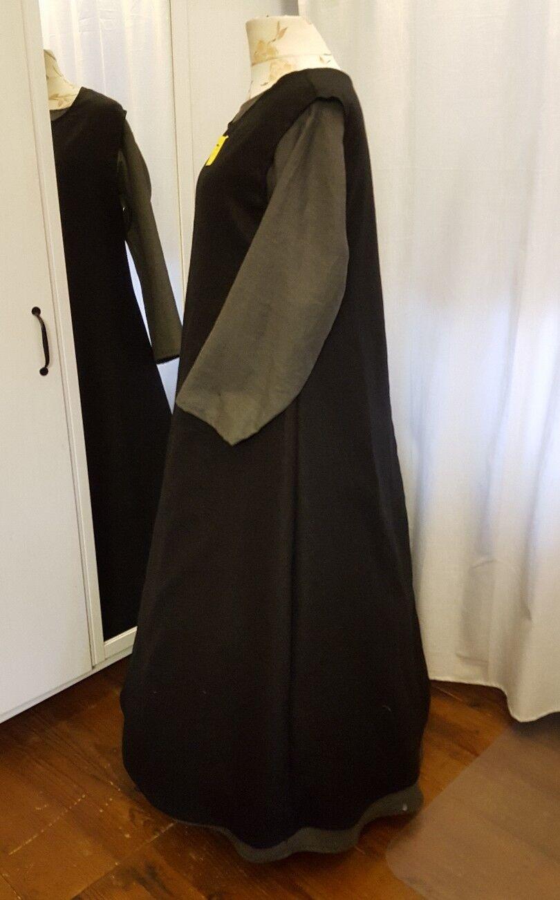Moyen Âge Âge Moyen Robe tunique LIN taille 46 48 50 XXL Gothique Latex 2 pièces Gris Noir c4950d