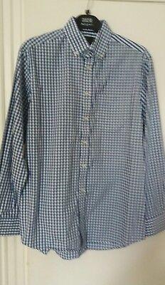100% Vero Da Uomo M&s Collezione Puro Cotone Bianco Blu A Quadri Reg Fit Colletto 15.5-mostra Il Titolo Originale