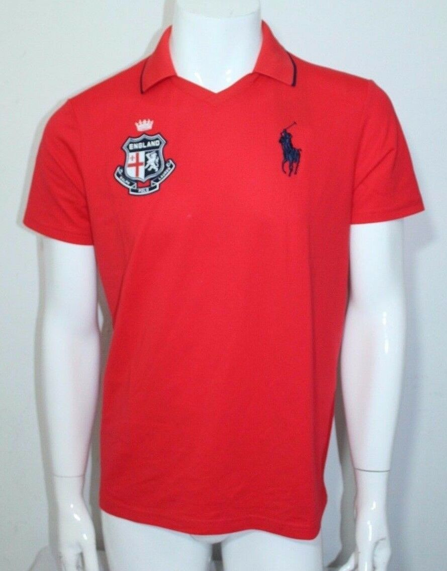 POLO SPORT Pima Cotton-Blend Polo Shirt Red Medium NWT