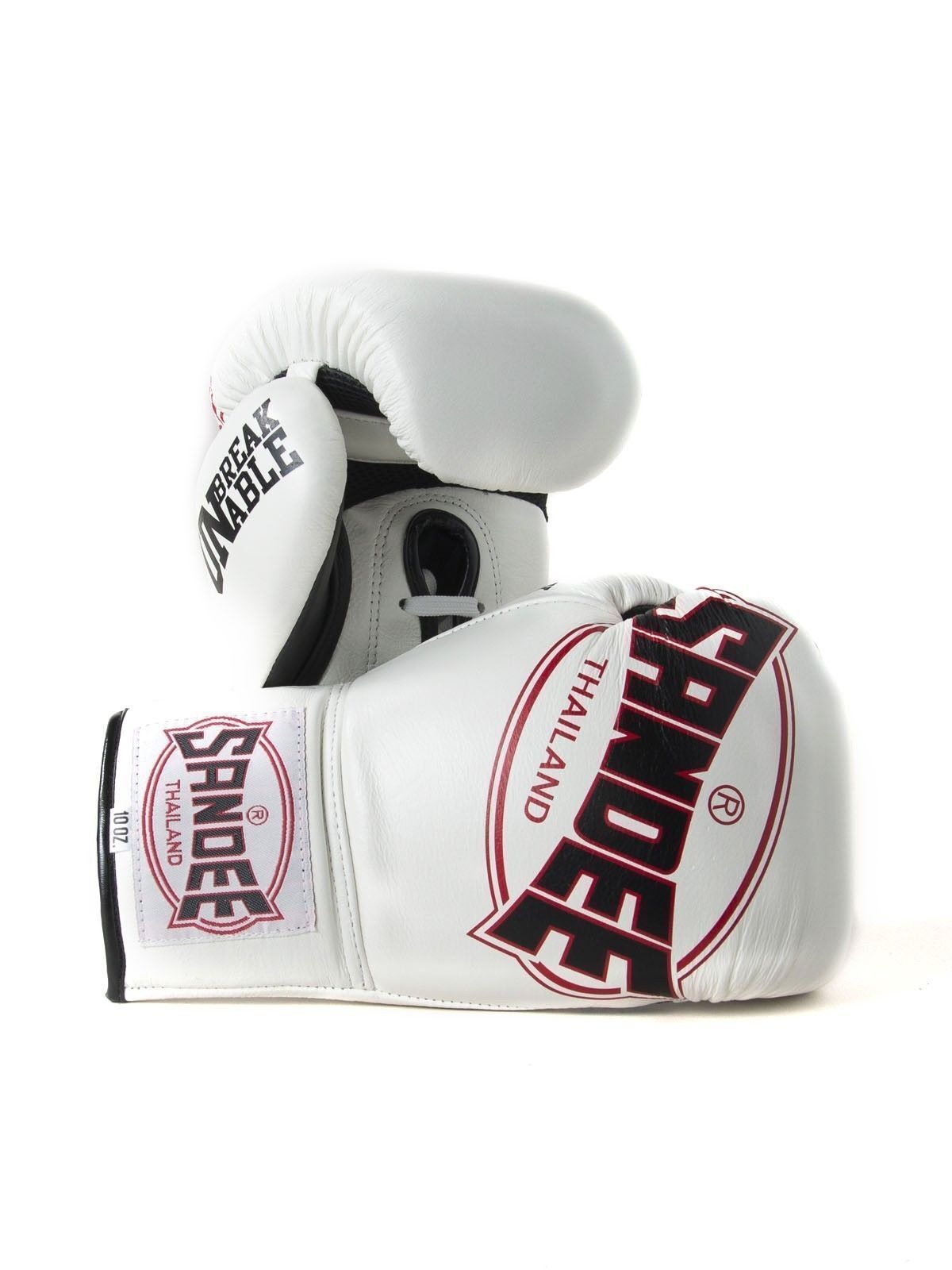 Sandee Cool-Tec Lace Up Pro Fight Weiß Leder Muay Thai Boxing Gloves