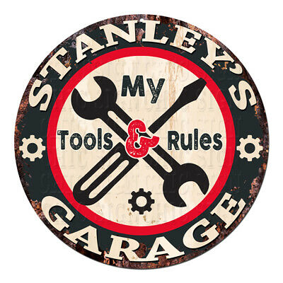 CGTR-0171 WESLEY/'S Garage Tools Rules Chic Tin Sign Man Cave Decor Gift
