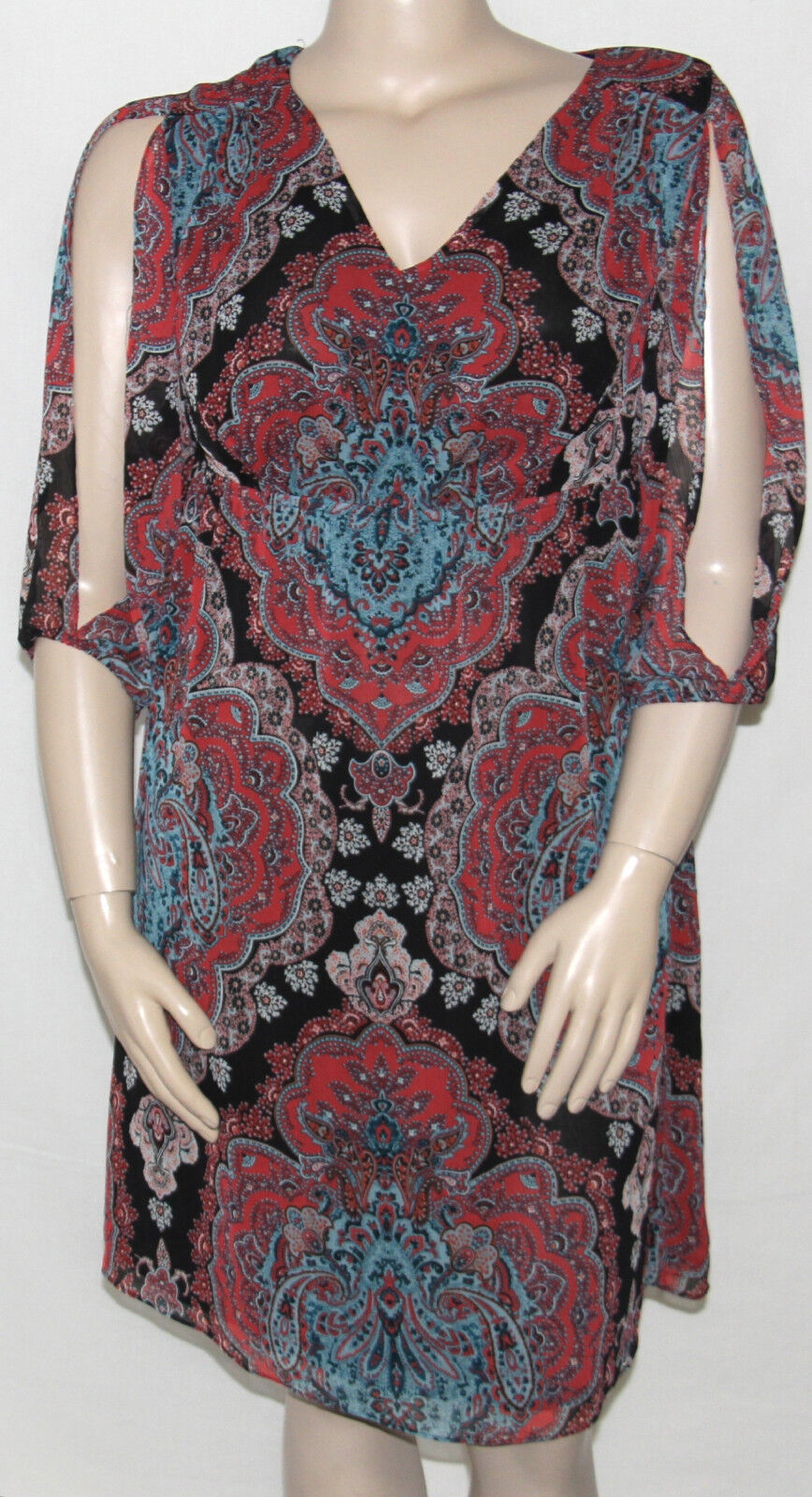NEW INC International Concepts Plus 0X Split-Sleeve Printed Empirewaist Dress