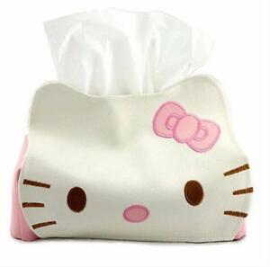 1x Hello Kitty PU Leather Tissue Paper Box Kleenex Cover Holder for Car Desk