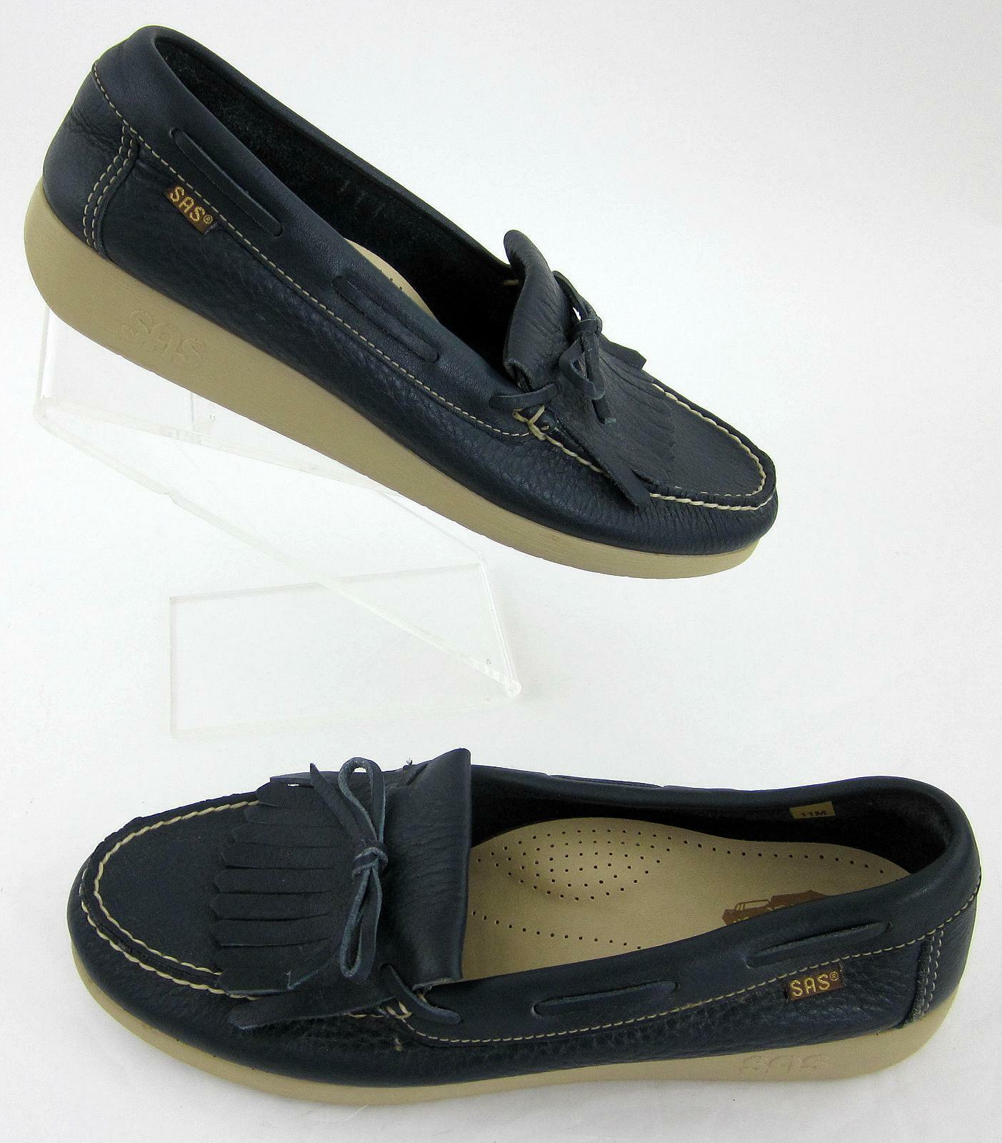 New! SAS Womens 'Kiltie 40' Slip On Shoes Navy Blue Sz 11M
