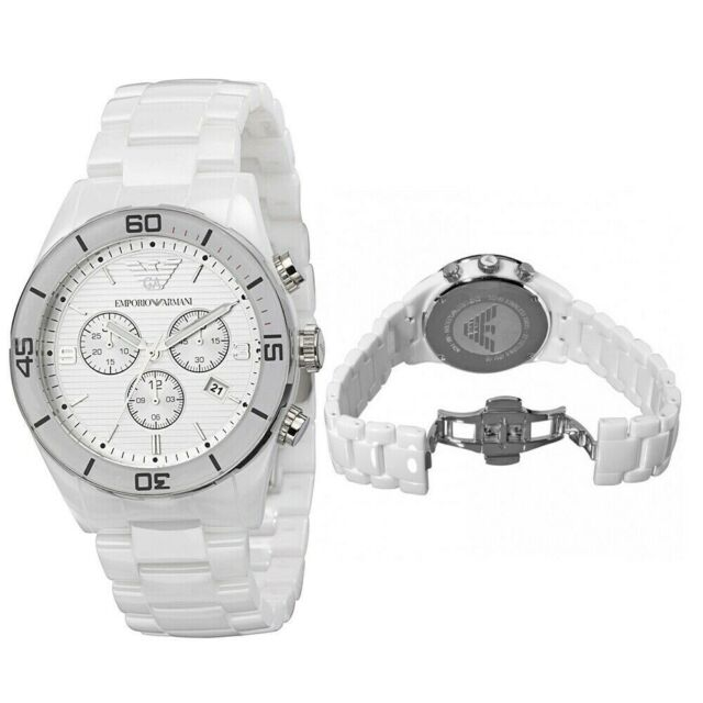 c1a941e5ae47d New In Box Emporio Armani AR1424 43mm White Ceramic Chronograph Mens Gents  Watch
