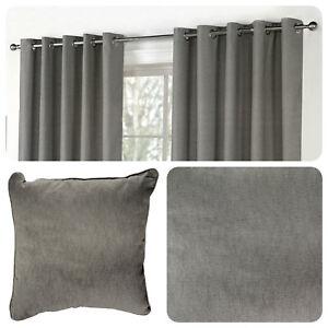 Fusion-SORBONNE-Eyelet-Curtains-Charcoal-Grey-Ready-Made-Ring-Top-Drapes-Cushion