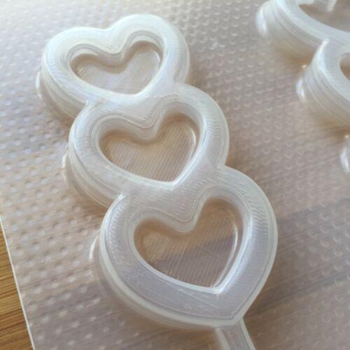 Triple Heart Lollipop Shaker Plastic Mold Flexible Resin Decoden UV Dango Kawaii