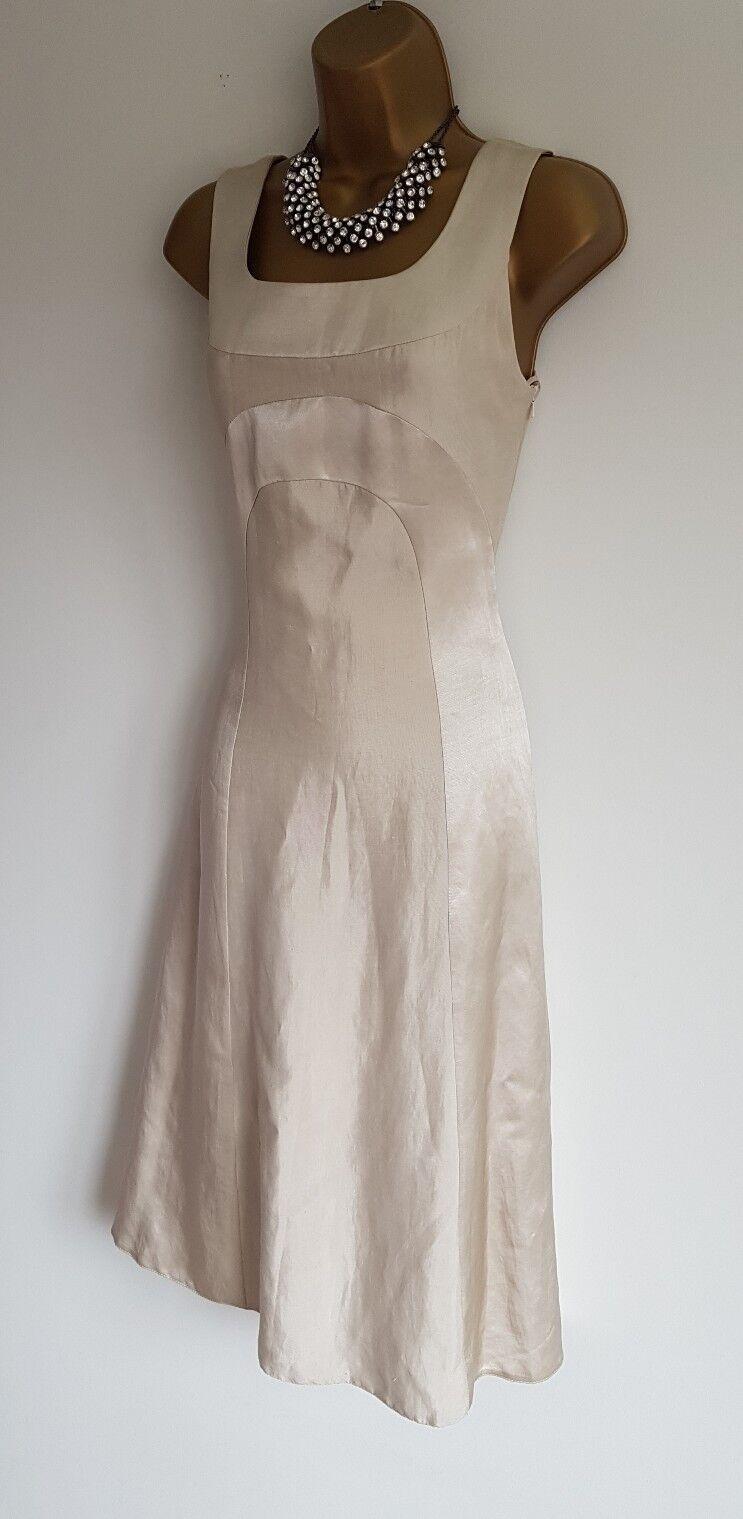 Phase eight BNWT super sexy feminine cream gold shiny midi flare dress 8
