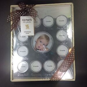 NEW Carter's Smiley Happy Silver Frame 13 Photo Baby's First Year Milestones