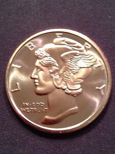 Mercury Dime 1 oz .999 Copper Round