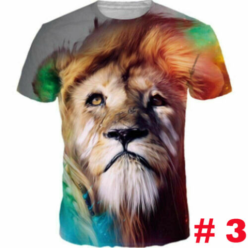 Men 3D Wolf Print T Shirt Clothing Short Sleeve Graphic Summer Casual Tee Tops