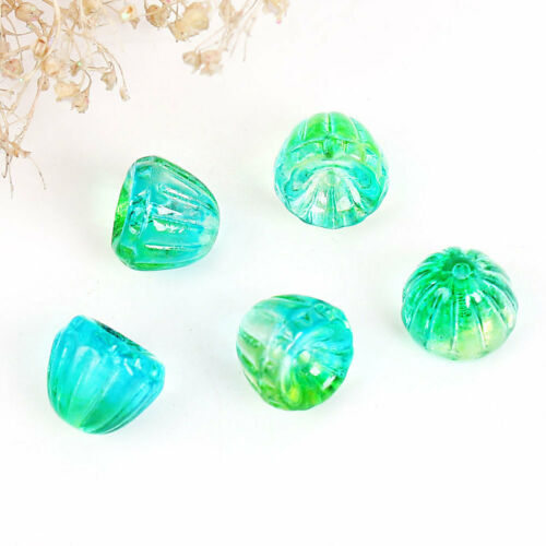 CB325 5 Czech Glass Beads 9mm x 8mm Lampwork Flower Beautiful and Versatile