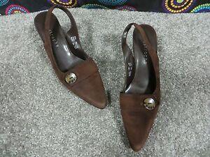 Apostrophe-Dark-Brown-Suede-Slingback-Heels-with-Strap-Button-Design-Sz-8M