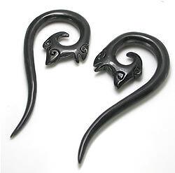 Elementals Organics FLAMES Black Horn Spiral Earrings Body Jewelry Price Per 2